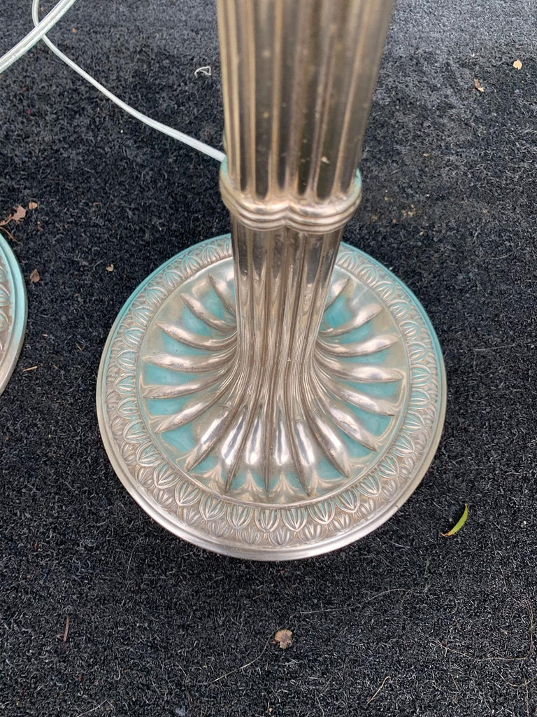 Pair of English Prob. Edwardian Silver Plated Column Lamps, circa 1900 For Sale 5