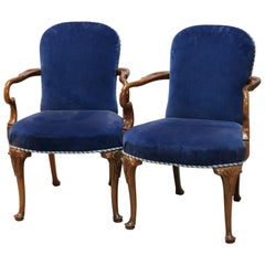 Pair of English Queen Anne Style Sapphire Blue Velvet and Mahogany Armchairs