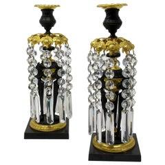 Pair English French Regency Ormolu Bronze Dore Candlesticks Lusters, circa 1815