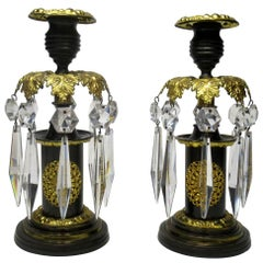 Pair of English Regency Ormolu Bronze Lusters Candlesticks, 19th Century