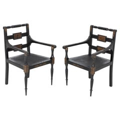 Pair English Regency Revival Chinoiserie Armchairs