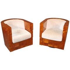 Pair of Enrique Garcel Club Art Deco Style Swiveling Mahogany Club Chairs