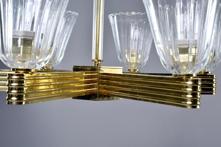 Pair Ercole Barovier and Toso Six Light Chandeliers For Sale 6