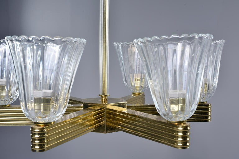 Pair Ercole Barovier and Toso Six Light Chandeliers For Sale 7