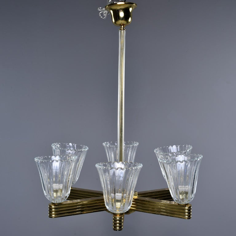 Pair Ercole Barovier and Toso Six Light Chandeliers For Sale 8