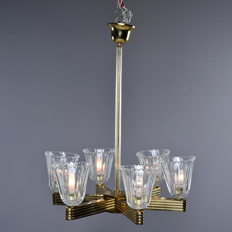 Art Deco Pair Ercole Barovier and Toso Six Light Chandeliers For Sale