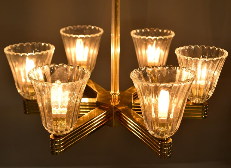 Brass Pair Ercole Barovier and Toso Six Light Chandeliers For Sale