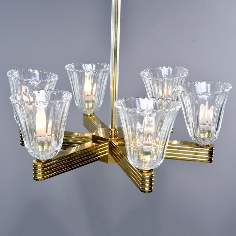 Pair Ercole Barovier and Toso Six Light Chandeliers For Sale 2