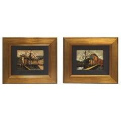 Pair of European Street Scenes Paintings 1950s by Listed Artist Ninetti