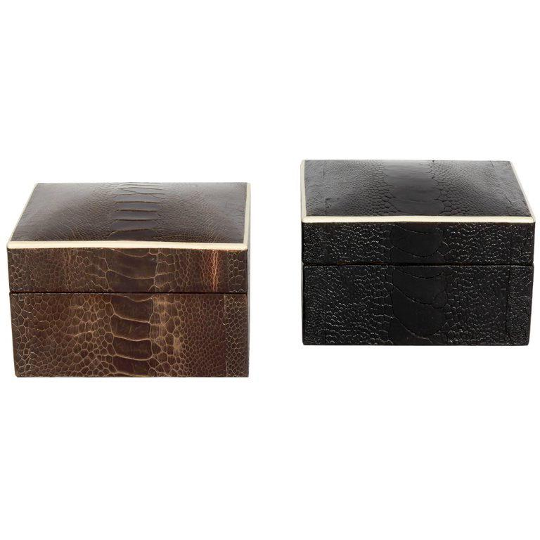 Pair of Exotic Ostrich Leather Decorative Boxes with Bone Inlay 'Black/Espresso' For Sale 1