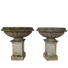Pair of Extra Large Stone Garden Urns on Plinths, England, 1920s