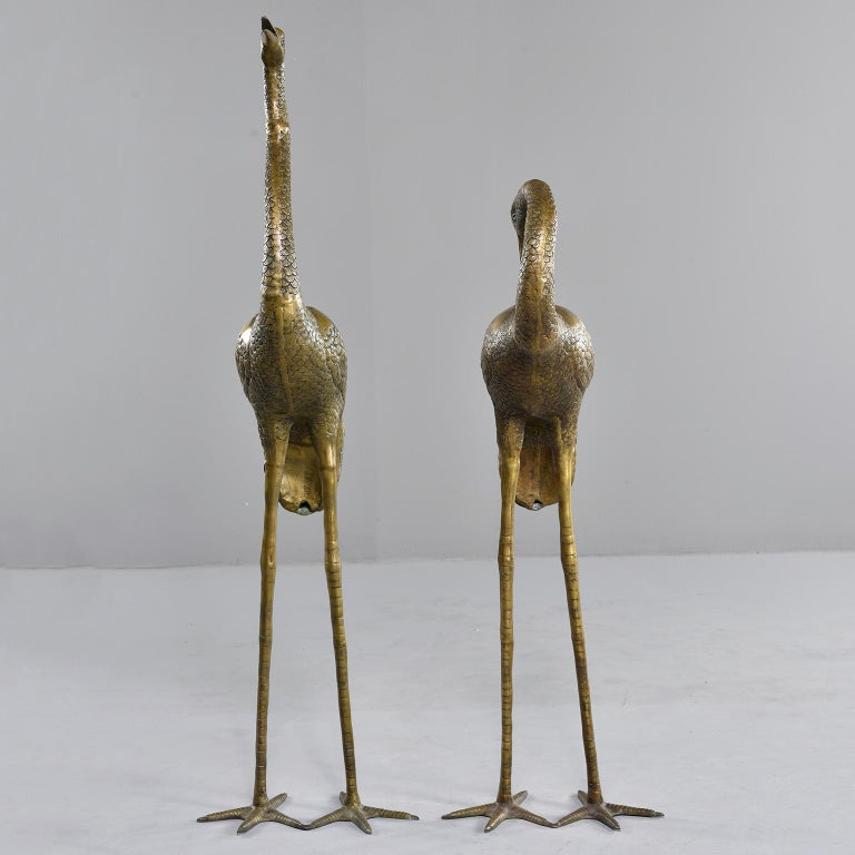 Mid-Century Modern Pair of Extra Large Midcentury Brass Crane or Heron Sculptures For Sale