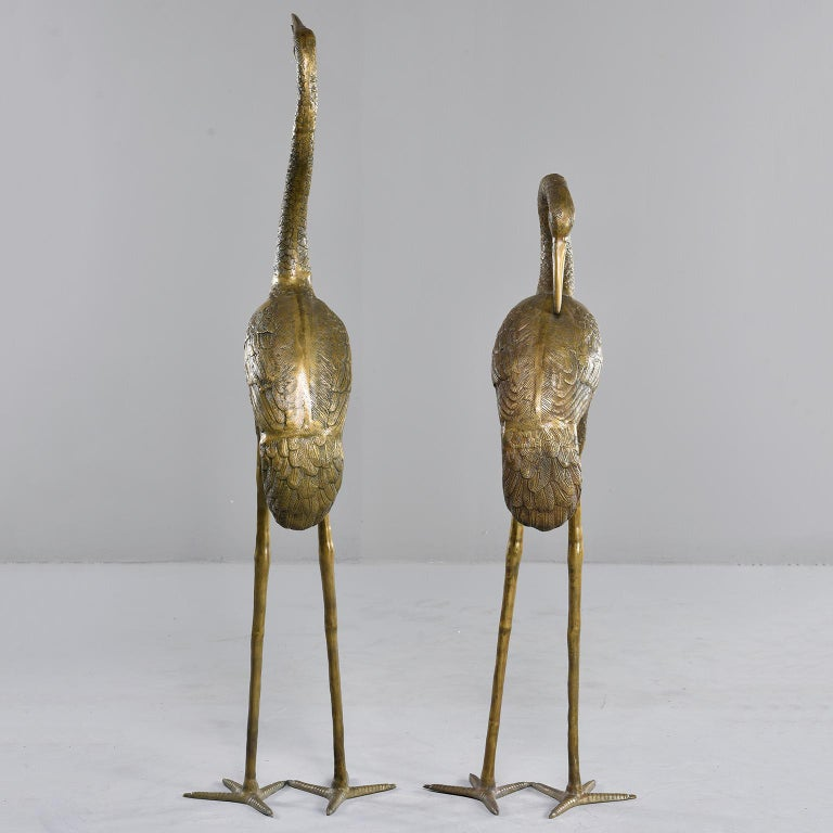 Pair of Extra Large Midcentury Brass Crane or Heron Sculptures In Good Condition For Sale In Troy, MI