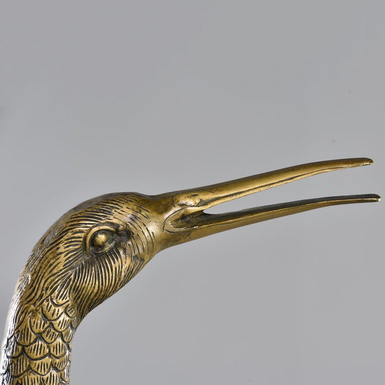 20th Century Pair of Extra Large Midcentury Brass Crane or Heron Sculptures For Sale