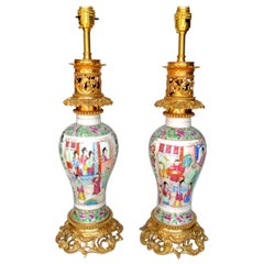 Pair of Famille Rose Canton Cantonese Hand Painted Ormolu Mounted Table Lamps