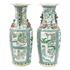Pair of Famille Verte Vases, Chinese, 19th Century