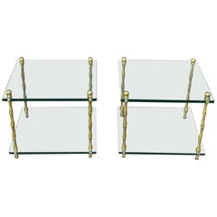 Faux Bamboo Brass Baguès Style Glass and Brass Square Low End Side Tables, Pair