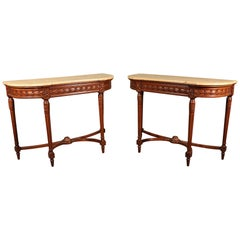 Pair of Faux Marble Carved French Walnut Louis XVI Demilune Console Tables