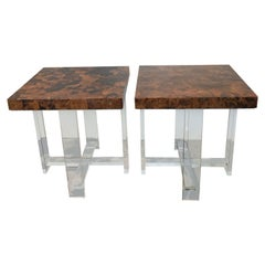 Pair of Faux Tortoise Shell Table by Pegaso Gallery Design