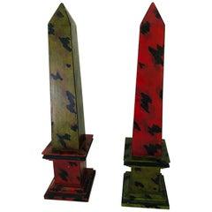 Pair of Faux Tortoiseshell Painted Wooden Obelisks
