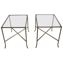 Pair of Faux Wood Cast Metal and Glass Tables