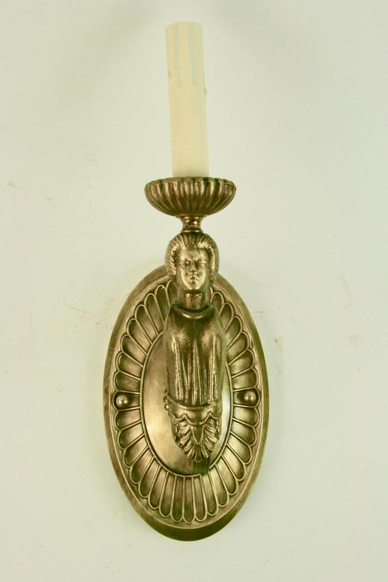 Pair of Figural Brass Sconce For Sale 1