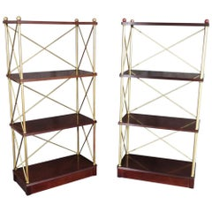 Fine Mahogany and Gilded Metal Directoire Style Étagères Bookshelves Curio, Pair