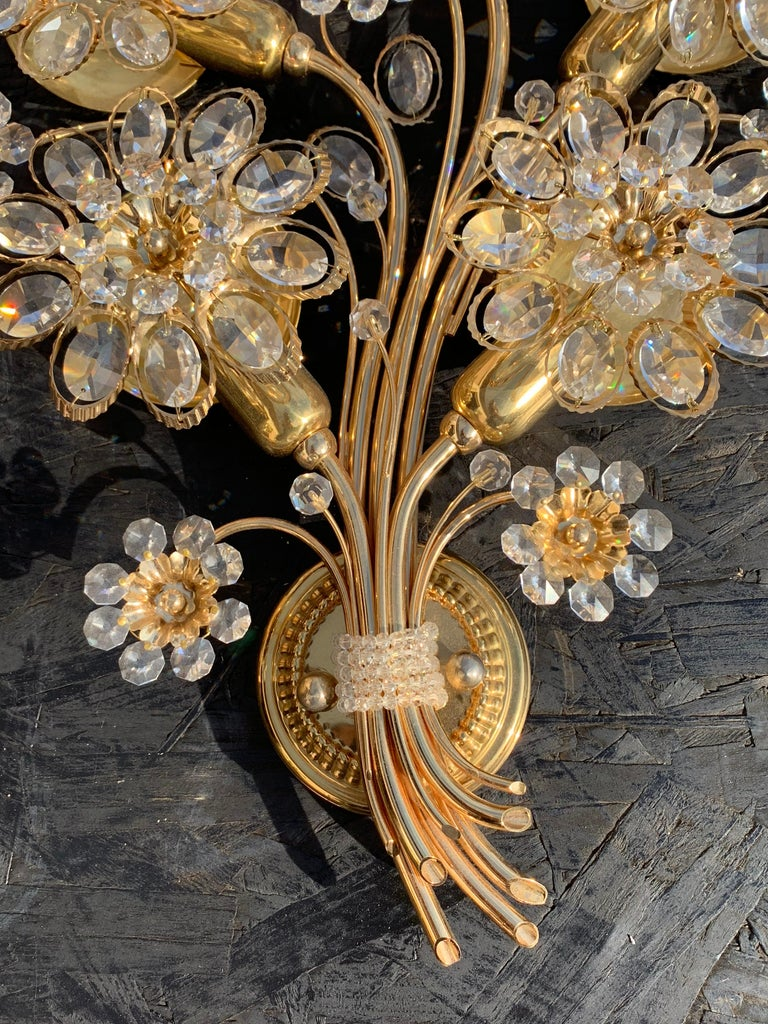Pair of Five-Light Brass Palwa Wall Sconce For Sale 7