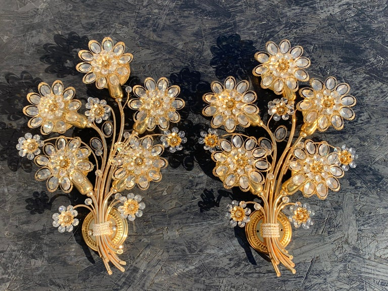 Pair of Five-Light Brass Palwa Wall Sconce For Sale 9