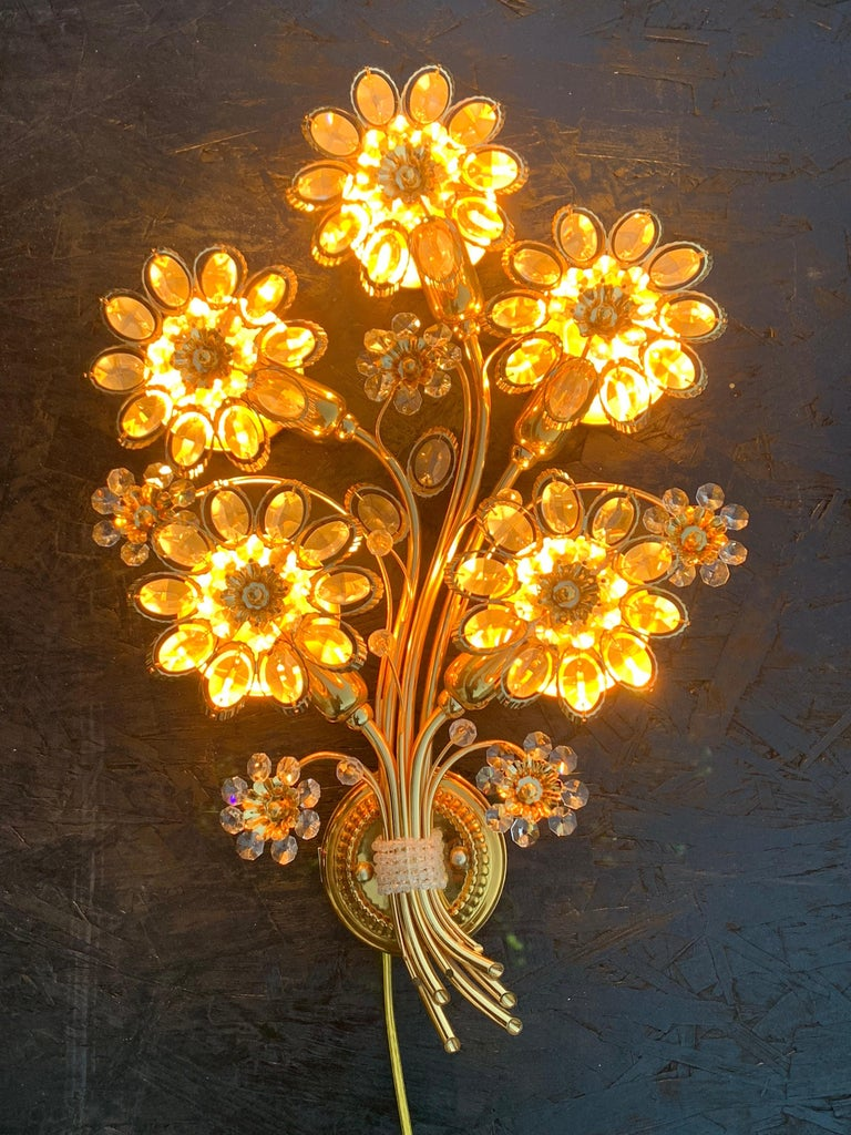 Late 20th Century Pair of Five-Light Brass Palwa Wall Sconce For Sale