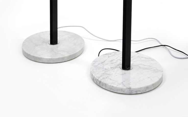 Italian Pair of Floor Lamps by Angelo Lelii for Arredoluce, Chrome, Marble, Articulating For Sale