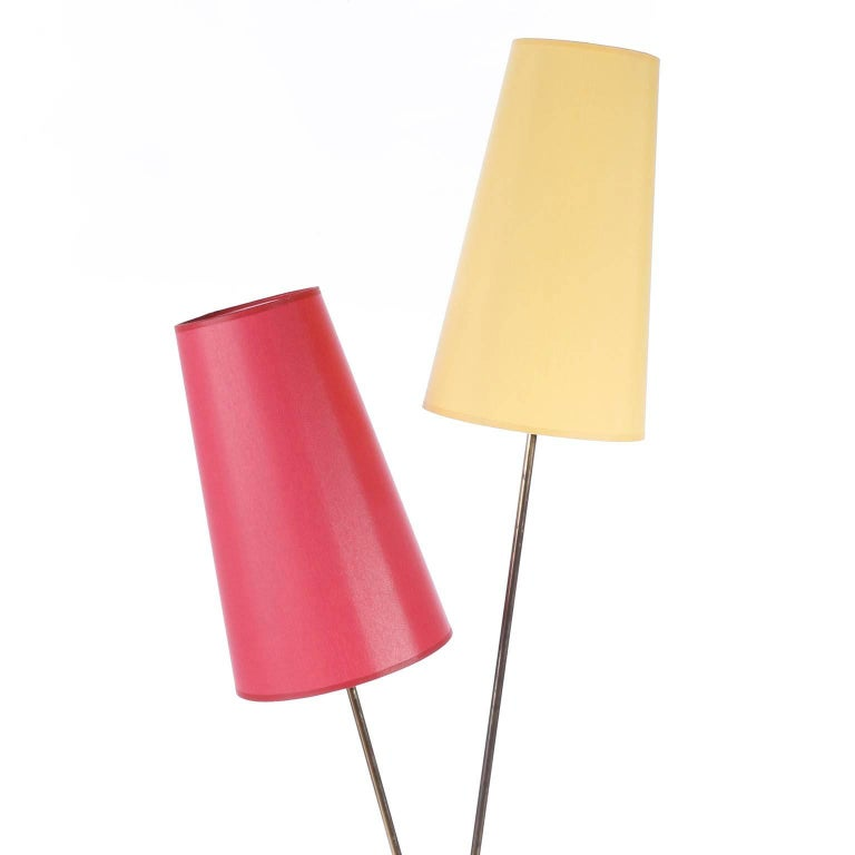 A pair of floor lamps by Rupert Nikoll, Vienna, Austria, manufactured in midcentury, circa 1960 (late 1950s or early 1960s). The lamp shades have been renewed on base of the original ones.