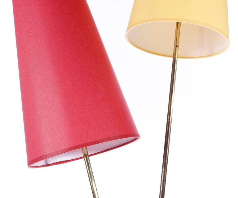Mid-Century Modern Pair of Floor Lamps by Rupert Nikoll, Brass Yellow Red, Austria, 1960 For Sale
