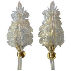 Pair of Floral Barovier & Toso Leaf Sconces Murano Art Glass Clear Golden, 1970s