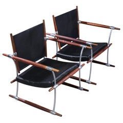 Pair Fo Jens Quistgaard Conical-Stick Rosewood and Black Leather Chairs