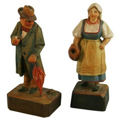 Pair Folk Art Hand Carved and Painted French Wood  Figures