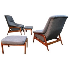 "Pair of Folke Ohlsson for DUX ""Profil"" Lounge Chair with Ottoman"
