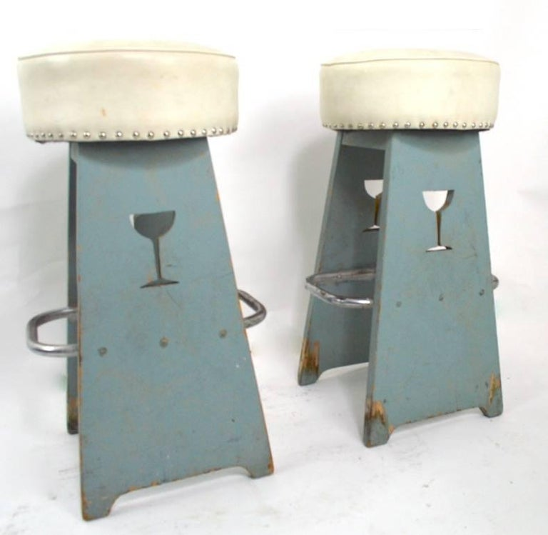 Upholstery Pair of Folky Art Deco Stools For Sale