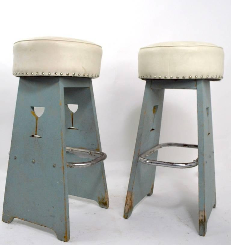 Pair of Folky Art Deco Stools For Sale 1