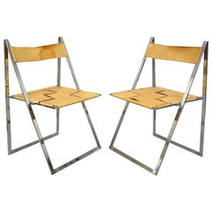 Pair Fontoni & Geraci Elios Folding Chairs Italian Modern Chrome and Leather B