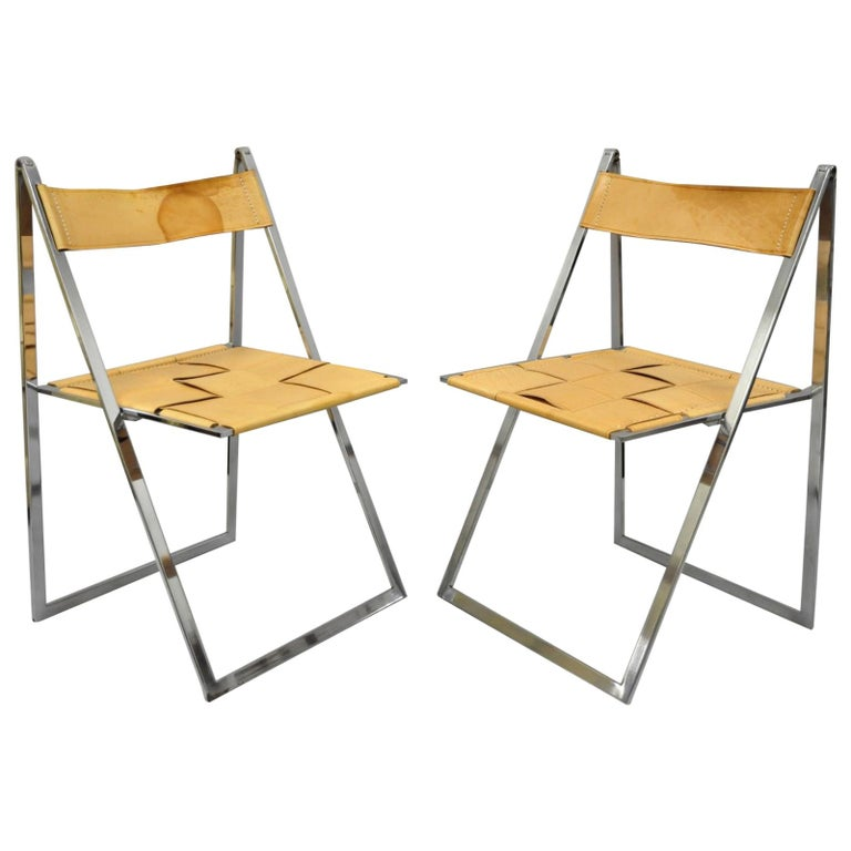 Pair Fontoni Geraci Elios Folding Chairs Italian Modern Chrome And Leather B For
