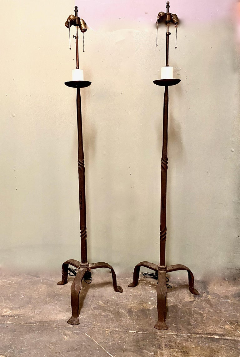 Pair Forged Iron Floor Lamps, Mid-20th Century Style of Giacometti For Sale 2
