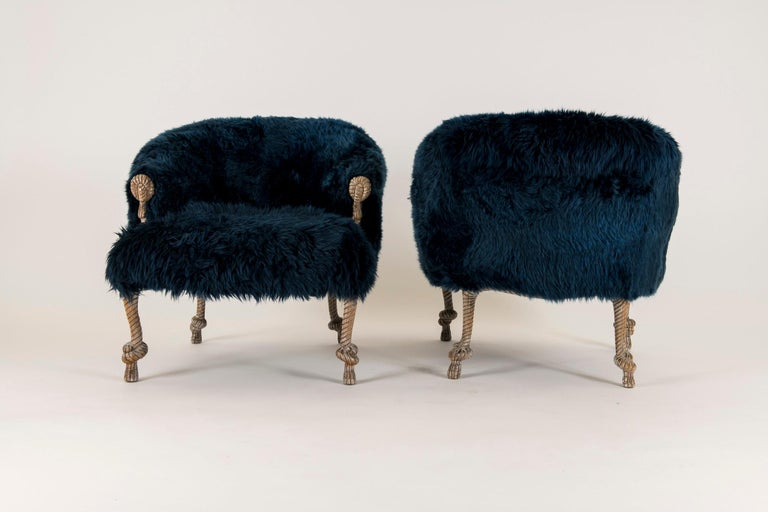 Pair of Fournier Style Navy Sheepskin Chairs For Sale 3