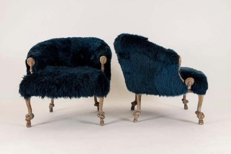 Pair of Fournier Style Navy Sheepskin Chairs For Sale 4