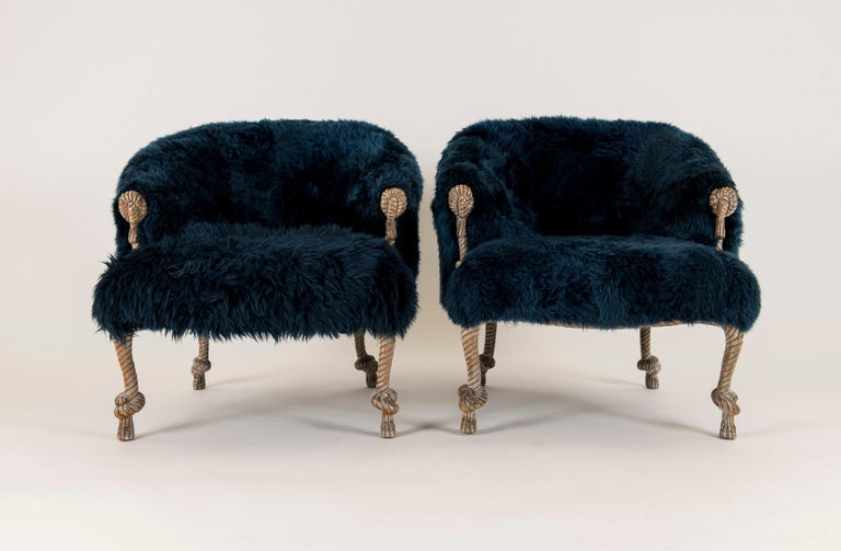 Pair of Fournier Style Navy Sheepskin Chairs For Sale 5