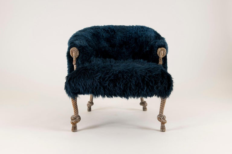 Napoleon III Pair of Fournier Style Navy Sheepskin Chairs For Sale