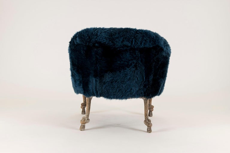 Pair of Fournier Style Navy Sheepskin Chairs In Good Condition For Sale In Houston, TX