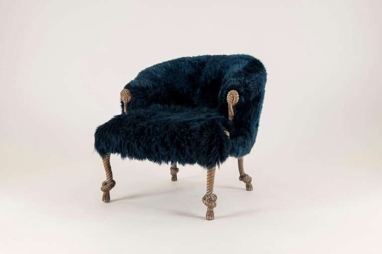 20th Century Pair of Fournier Style Navy Sheepskin Chairs For Sale