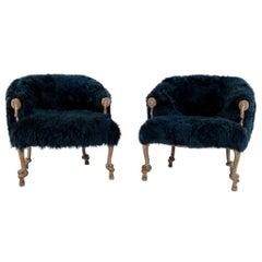 Pair of Fournier Style Navy Sheepskin Chairs