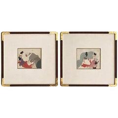 Pair Framed Antique Japanese Shunga Paintings on Silk